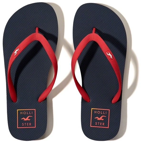Hollister Rubber Icon Flip-Flops (32 BRL) ❤ liked on Polyvore featuring men's fashion, men's shoes, men's sandals, men's flip flops, navy, mens rubber shoes, mens leopard print shoes, navy blue mens shoes, mens rubber flip flops and mens navy shoes