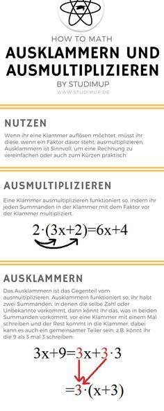 Klammern richtig ausklammern und ausmultiplizieren. Mathe einfach erklärt und leicht zu lernen. Mathematik lernen im Gymnasium und der Realschule.