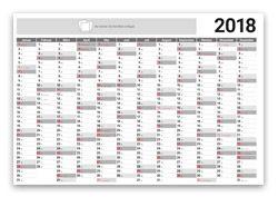 Kalender Layoutvorlage Jahresplaner - kostenloser Download als PDF oder InDesign-Datei - Kalendarium 2018 - mit Feiertagen & Kalenderwochen