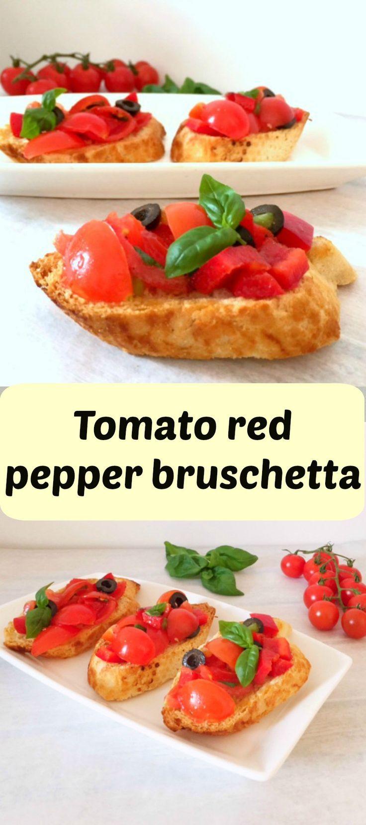 Tomato red pepper bruschetta, a posh and tasty Italian starter for any occasion.