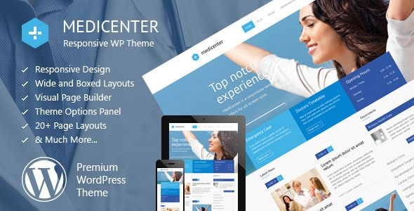 MediCenter - Responsive Medical WordPress Theme   http://themeforest.net/item/medicenter-responsive-medical-wordpress-theme/4718613?ref=damiamio      Latest Version: 01.08.2014 – v5.6. Check the changelog  MediCenter is a responsive WordPress Theme suitable for medical and health related projects or businesses. The Theme is maintained in a minimalist and modern style with strong color accents. Theme comes with wide and boxed layout – both fully responsive and optimized for all kind of…
