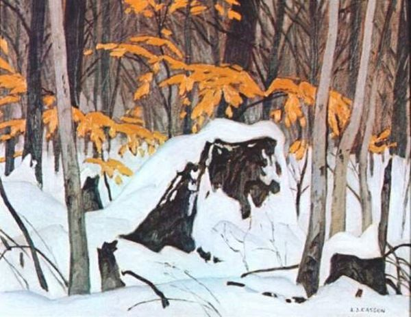 A.J. Casson Birch Leaves in Winter