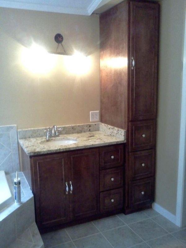 Bathroom Vanity With Linen Cabinet | Small bathroom vanities, Diy ...
