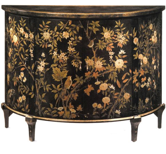 Perfect Gossiping Birds Demilune Cabinet Black With Chinoiserie Painting.  DesignNashville Fine Quality Furniture Shipping To All Locations.