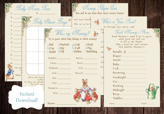 This listing is for an instant download, printable Peter Rabbit Baby Shower Game Package.  Once the transaction has processed, you will be