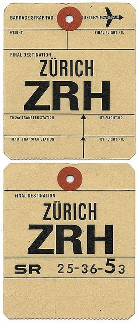Vintage Swissair baggage labels, from back when the they didn't even stamp your passport at Zurich airport (before 2008).