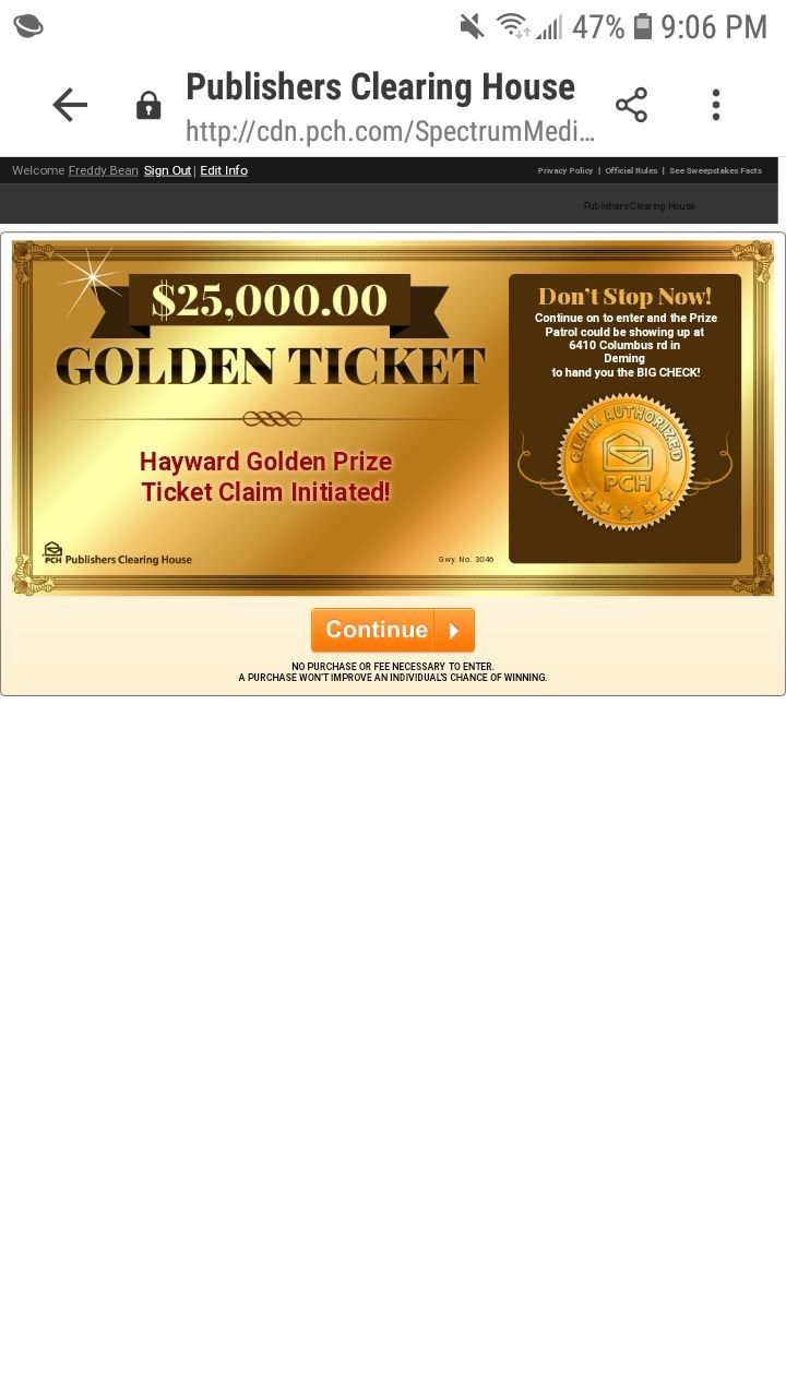 PCH pay all my bills with a golden ticket June 30th 2019 1 million a