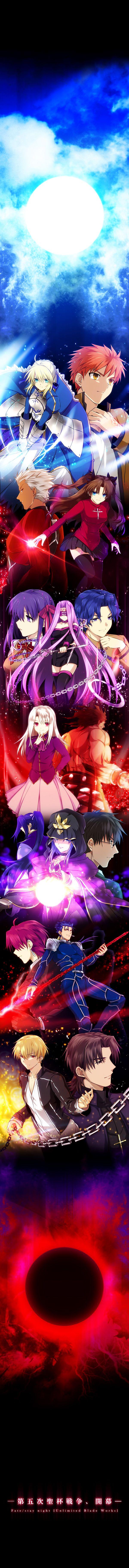"Source: ""Fate/Stay Night"" | Characters: ""Archer"" ""Assassin"" ""Bazett Fraga McRemitz"" ""Berserker"" ""Caster"" ""Emiya Shirou"" ""Gilgamesh"" ""Illyasviel von Einzbern"" ""Kotomine Kirei"" ""Kuzuki Souchirou"" ""Lancer"" ""Matou Sakura"" ""Matou Shinji"" ""Rider"" ""Saber"" ""Tohsaka Rin"" | Artist: ""Uka"""