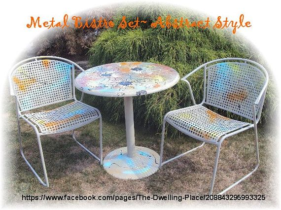 Metal Bistro Set  Intuitive / Abstract by FromMyDwellingPlace, $225.00