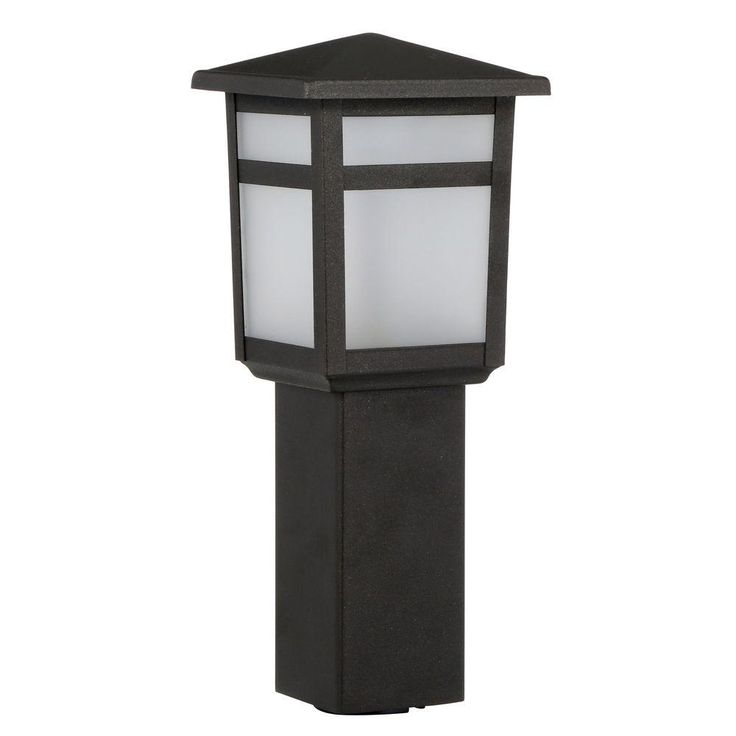 Hampton Bay Low-Voltage Black Square LED Outdoor Bollard Path Light-IYS1501L - The Home Depot