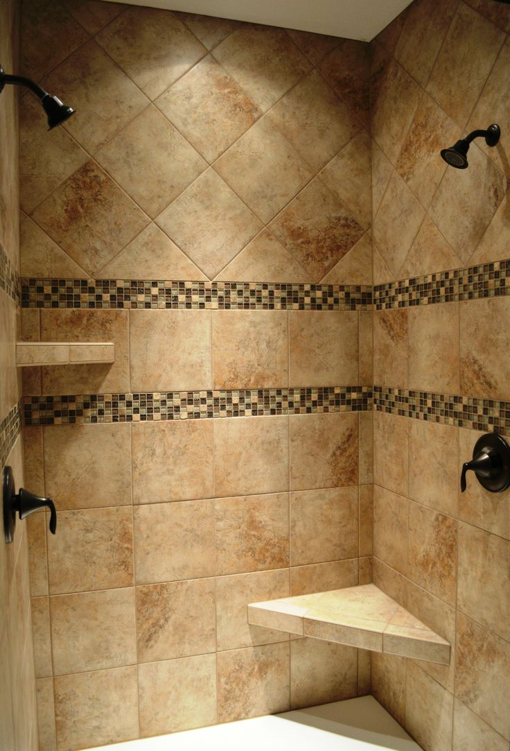 Perfect Dual Head Custom Ceramic Tile Shower With Oil Rubbed Bronze Fixtures Part 24