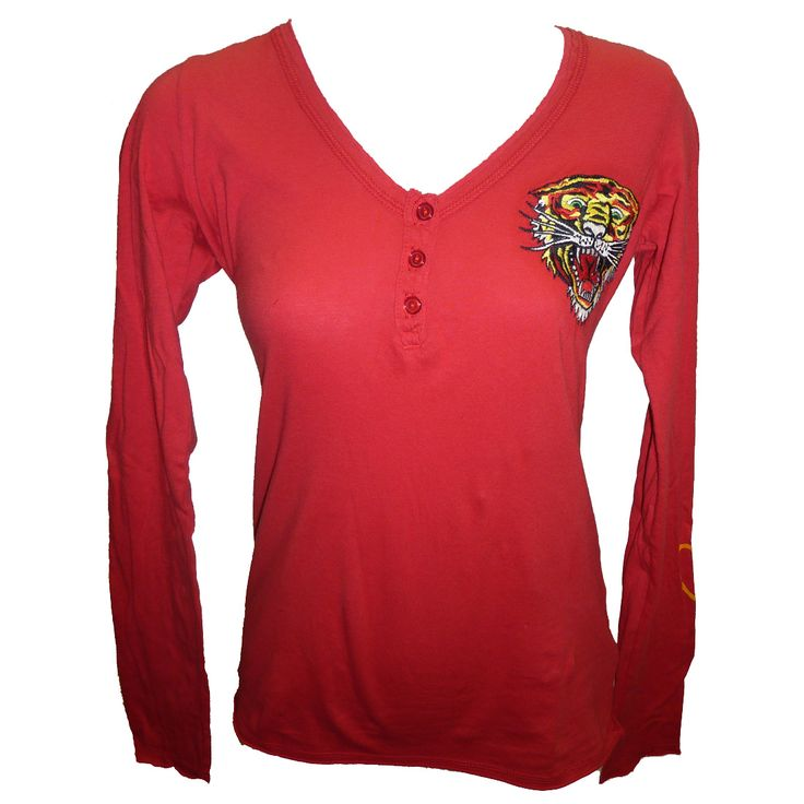 Ed Hardy Womens New Tiger V-Neck Henley-Red