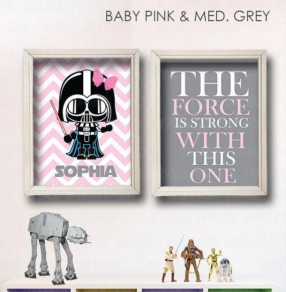 Star Wars Nursery Art- Girl Room - 2 Print Set - Star Wars Personalized Decor- Baby Shower Gift - Nursery Play Room-Girl Wall Art-GR-119