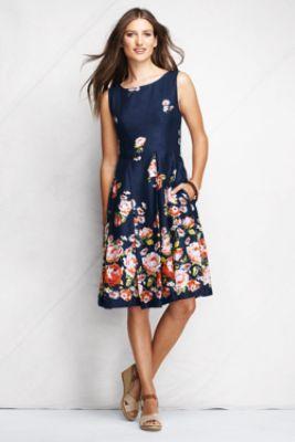 Beautiful linen sundress from Land's End - Women's Regular Pattern Woven Linen Open Back Dress