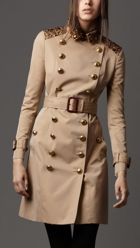 Burberry London Trench Coats for Women. Military buttoning and embroidered shoulders