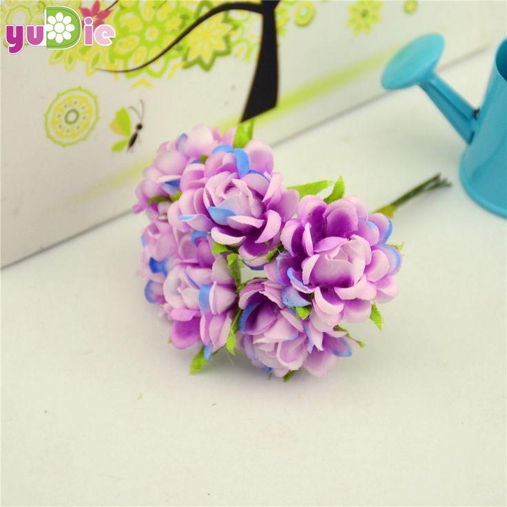 6pcs/lot Silk Rose Artificial Flower Bouquet For Wedding Home Decoration Mariage Flores Clothing Hats Accessories Rosa Flowers