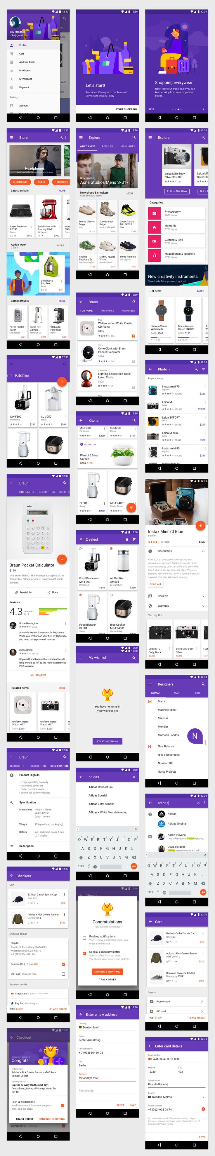 Free set of UI elements from Android Nougat pre-designed in Sketch