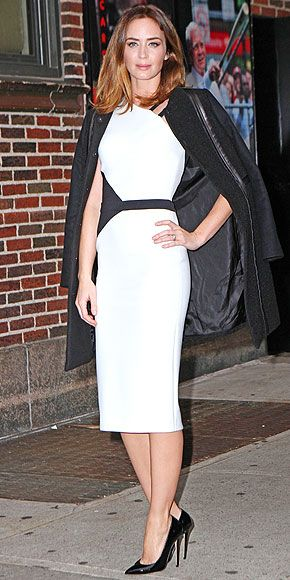 Last Night's Look: Love It or Leave It?   EMILY BLUNT   Pairing two off-the-runway pieces to make one killer look, Emily expertly combines an edgy black-and-white asymmetrical David Koma dress with a prim Tory Burch coat at the Late Show with David Letterman in N.Y.C.