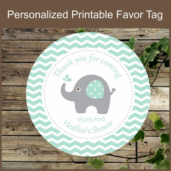 Elephant Favor Tag / Personalized Sticker for Baby Shower Favors / Printable…