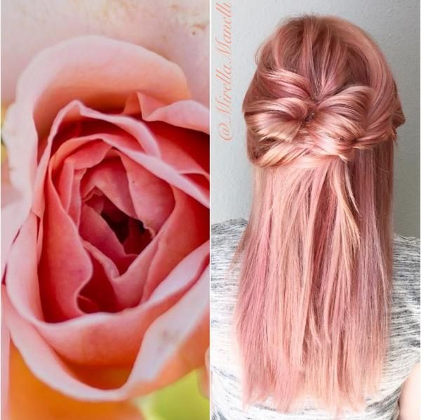 Mirella Hullum glazed over a cool level 9 using #KenraColor Demi 10B with a little 6R to create this rose color. #Kenra #RoseGoldHair