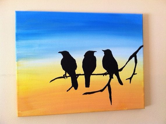 Original Acrylic Silhouette Painting of Birds on a Tree Branch