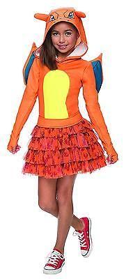 Kids Costume Charizard Girls Medium Pokemon Halloween Cosplay Dress Child Hooded