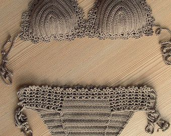 CARGA EXPRESS Azul oscuro blanco Crochet Bikini por formalhouse