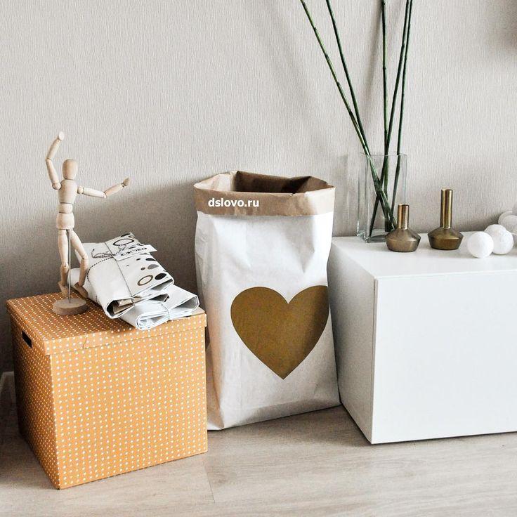 Эко-мешок для игрушек с принтом сердечка.