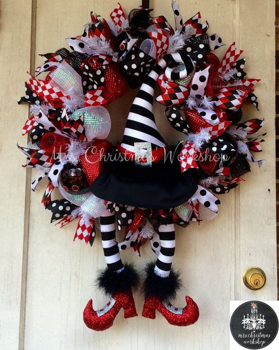 deco mesh wreath halloween wreath witch wreath with hat and boot dorothy wizard of oz - Halloween Deco