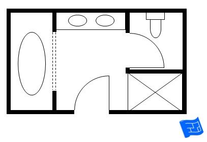 Another luxurious master bathroom floor plan with a separate room for the toilet.