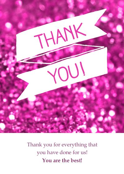 Pink Glitter Thank You Card  designed by Claudia Owen on Celebrations.com Please visit my website: http://claudiaowen.com/
