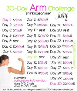 30-Day Arm Challenge: A Free Workout Calendar