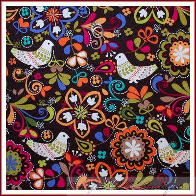 BonEful Fabric FQ Michael Miller Brown Color Folk Art Bird Norway Flower Cotton