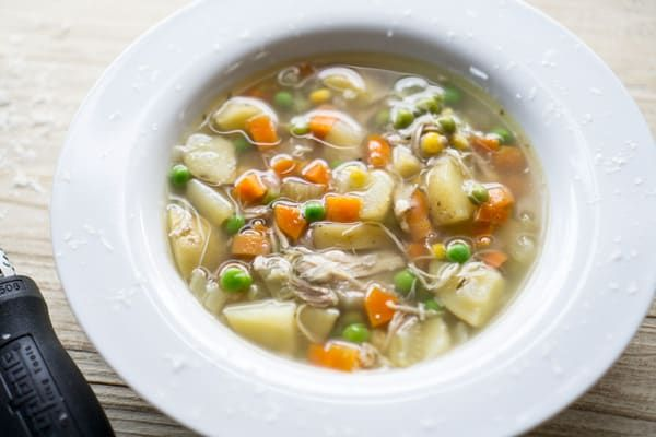 Easy Crockpot Chicken Vegetable Soup The Kitchen Girl Recipe In 2020 Vegetable Soup With Chicken Chicken Vegetable Soup Recipes Chicken Soup Crockpot