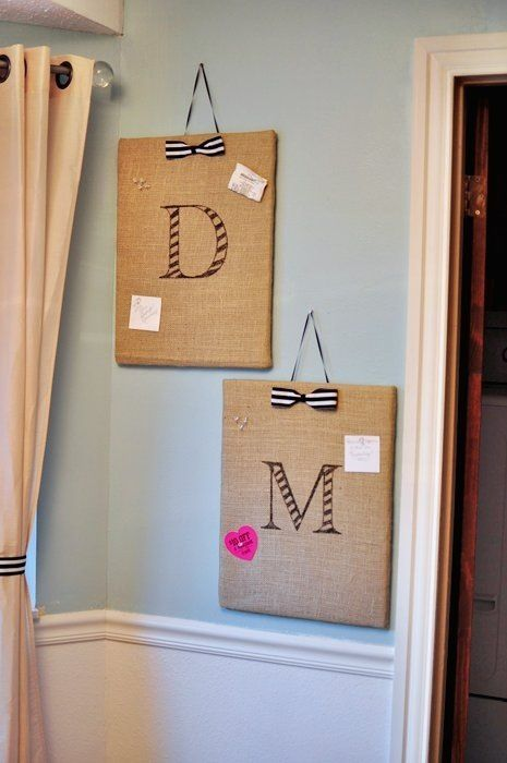DIY burlap memo boards... found gold polka dot burlap @ JoAnn Fabrics so I need to know what to do with it!