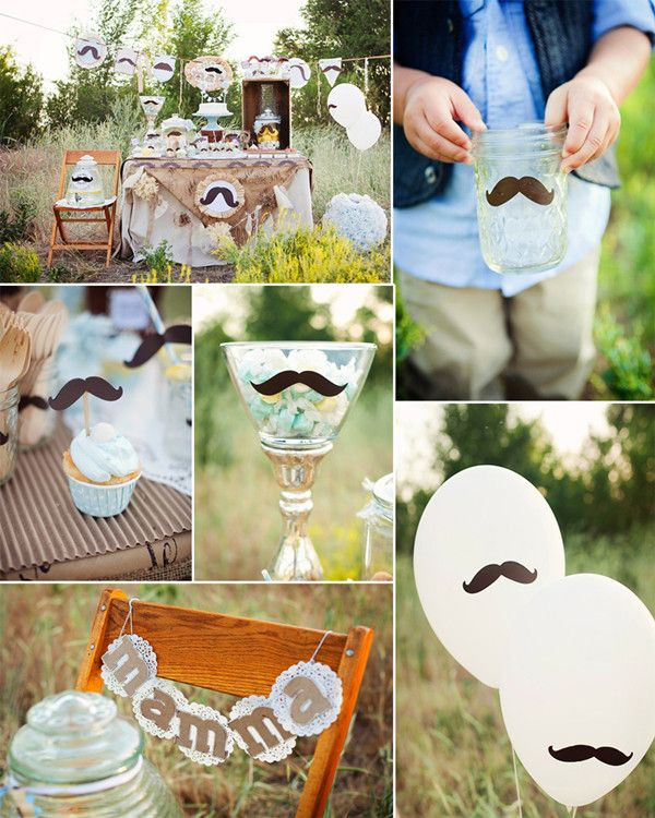 Outdoor Mustache Theme Baby Shower Ideas For Boys