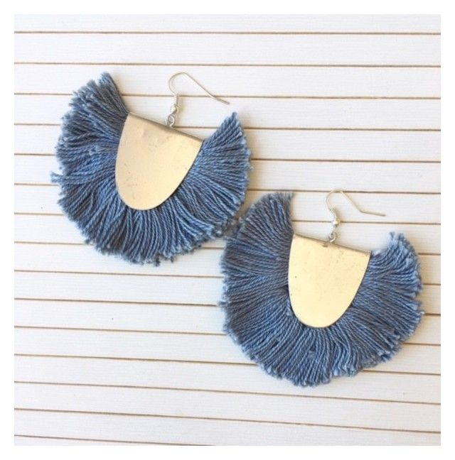 Statement fringe earrings in denim