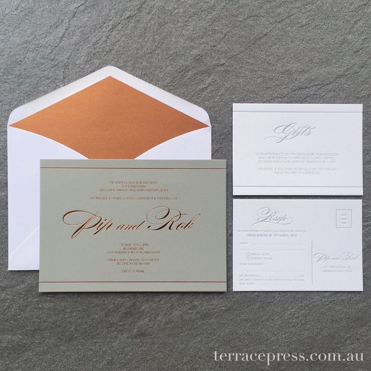 Pip & Rob's Copper Foiled Wedding Invitations #letterpress #wedding #invitation #stationery #letterpress #foiling #copper