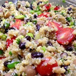 Quinoa, black beans, cherry tomato, and green onion salad with spicy lime vinaigrette. So good!