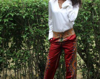 Pleated trousers Red Linen Pants Women Trousers Lovely by xiaolizi