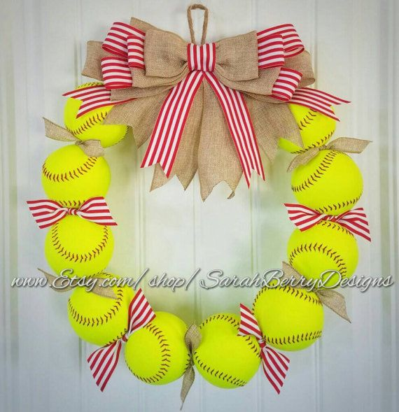Cutest softball wreath ever!!! Check out this item in my Etsy shop https://www.etsy.com/listing/498987670/softball-wreath-made-with-real-softballs