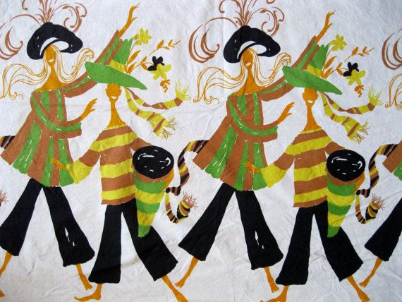 1960's dancer and drummer border print fabric in by acafterglow, $38.00