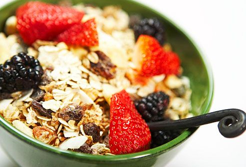 """Start Your Day With Whole Grains  A bowl of oatmeal or whole-grain cereal has benefits that last all day. The fiber and complex carbohydrates in whole grains help you feel fuller for longer, so you'll be less tempted to overeat at lunch. They also help reduce LDL """"bad"""" cholesterol and can be an important part of your weight loss strategy. Other examples of whole grains include wild rice, popcorn, brown rice, barley, and whole-wheat flour"""