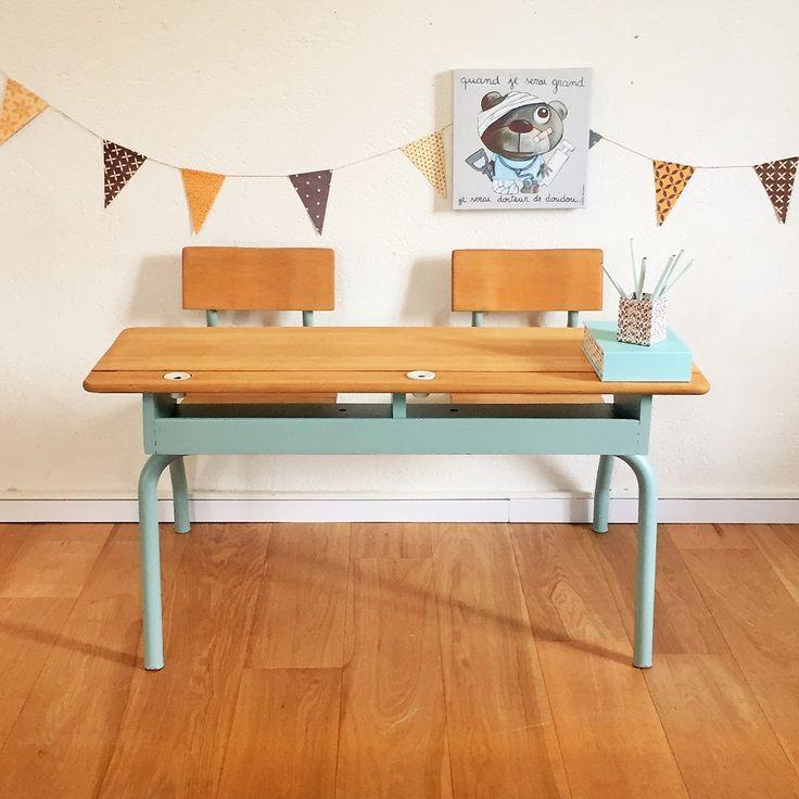 Bureau d'enfant, pupitre d'écolier, vintage rénové par Chouette Fabrique  (6)