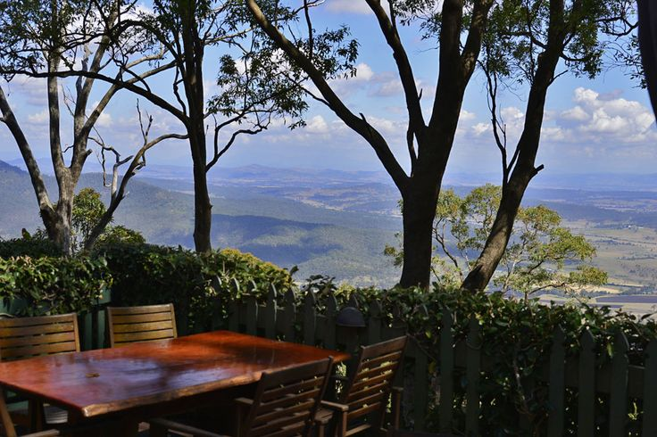 Table overlooking views down to the Gold Coast from The Polish Place Mt Tamborine
