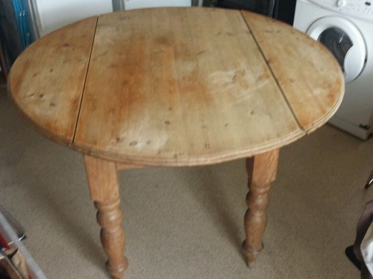 Details about HANDCRAFTED Farmhouse Rustic Textured Solid Pine Wood 1.3m  Round Drop Leaf Table. Linseed OilDrop ...