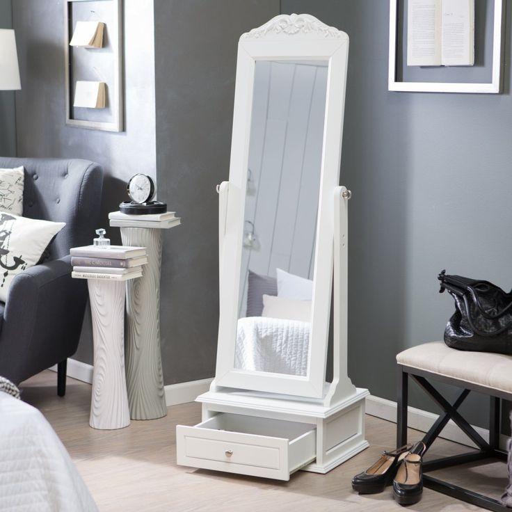 Belham Living Removable Decorative Top Cheval Mirror - White - 21.5W x 60H in. - The Removable Decorative Top Cheval Mirror - White is perfect for taking a quick peek before you head out the door. This generously-sized mirror lets ...