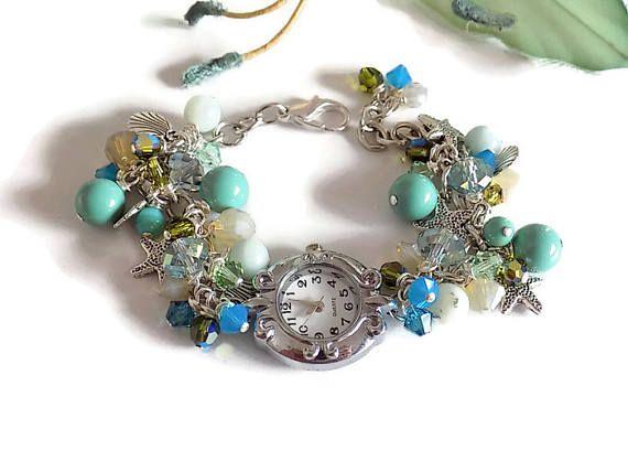 Pearl Watch Women Beaded Watch Beach Bracelet Silver Watch  Blue Green Ocean Jewelry Beach Jewelry Star Fish Jewelry