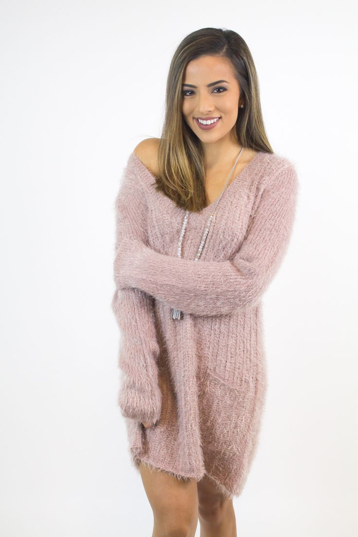 Rose V-Neck Soft Sweater Dress