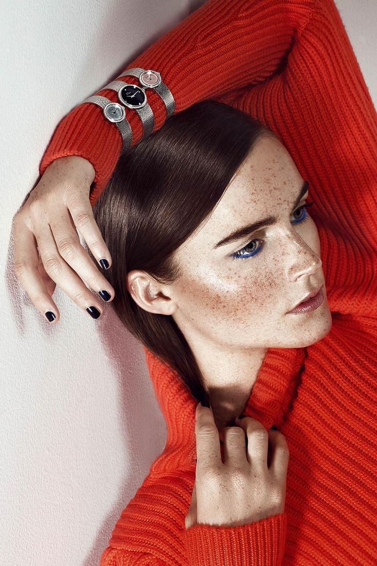 CHRISTIAN DIOR//Photography: Adam Black/Client: Christian Dior Couture-Middle East for Layalina/Stylist: Gemma M Jones/Makeup & Hair: Hedi Kalmar/Models: Laura,MMG Models// jewellery photo shoot, jewellery campaign, beauty photo shoot, dubai photography, united arab emirates, gold watch, silver watch, smooth hair, blue eyeliner, freckles, white background, red turtleneck, red sweater, thick brows, luxury photo shoot, glamour photo shoot, portrait, graphic makeup